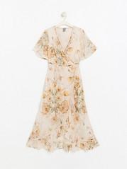 Růžové šifonové šaty skvětinovým vzorem Bílá