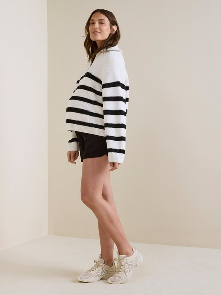 Svart MOM-shorts i viskose Svart