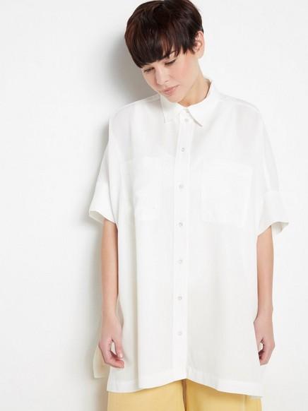 Valkoinen pusero lyocell-sekoitetta Valkoinen