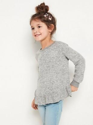 Grå, finstrikket genser med volangkant og børstet overflate Grå
