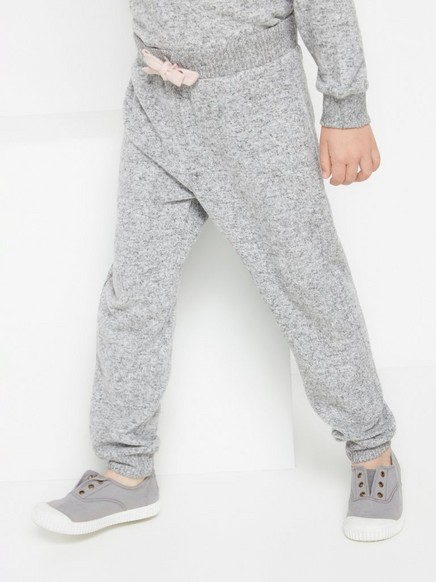 Grey fine knit trousers with brushed finish Grey