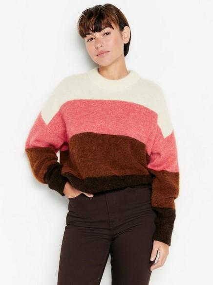 Stripet strikkegenser i alpakkaullblanding Rød