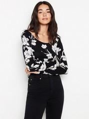 Long sleeve top in lyocell blend  Black