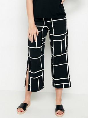 LYKKE svart, vid bukse med splitt Svart