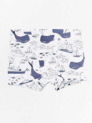 Boxer shorts with boats and whales White