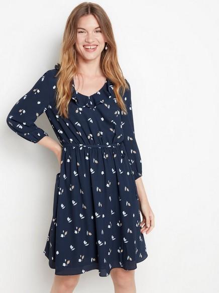 Mønstret, marineblå kjole Blå