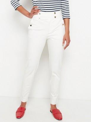 Bílé kalhoty svysokým pasem Bílá