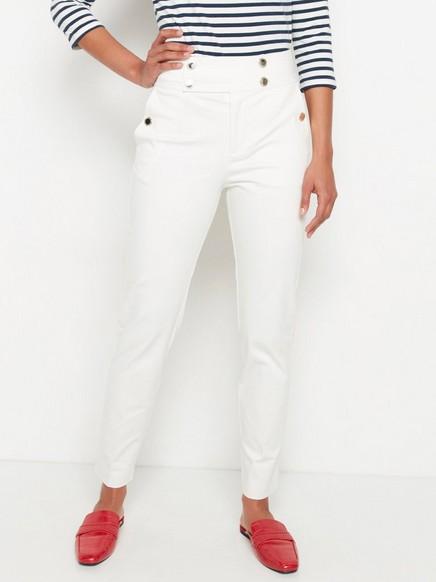 Korkeavyötäröiset valkoiset housut Valkoinen