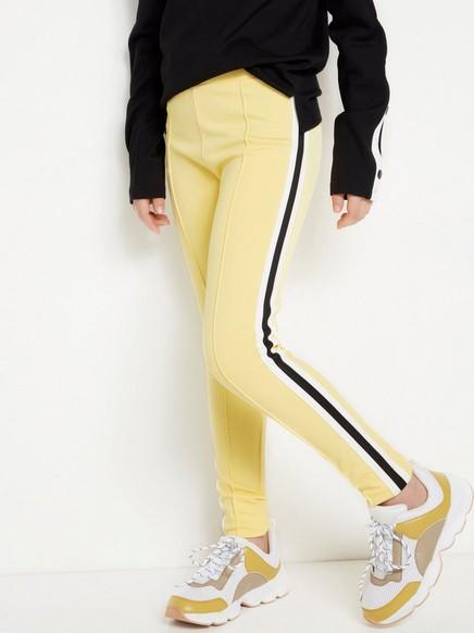 Gul leggings med sidestriper Gul
