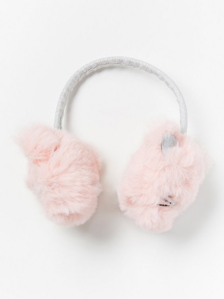 Rosa ørevarmere med katter og glitter Rosa