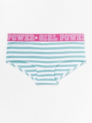 Striped briefs in white and turquoise Turquoise