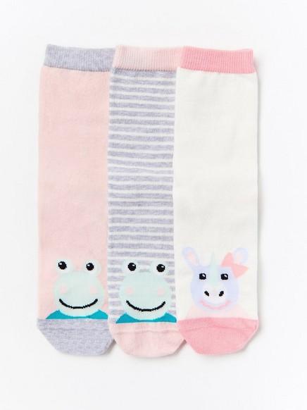Kuvioidut sukat, 3 paria Vaaleanpunainen