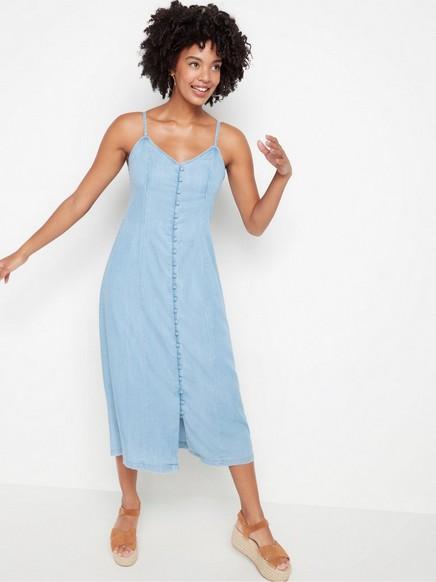 Klänning i denim-lyocell Blå