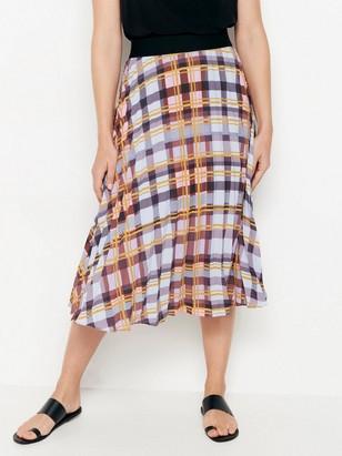 beec3d5c2 Kostkovaná plisovaná sukně Žlutá