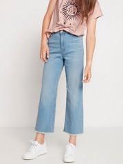 Ljusblå narrow vida jeans med croppat ben Blå