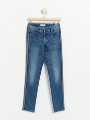 Slim fit jeans with side stripes Blue