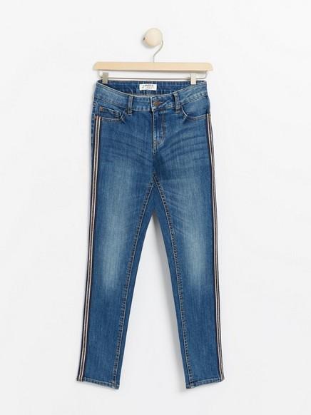 Slank jeans med striper på sidene Blå