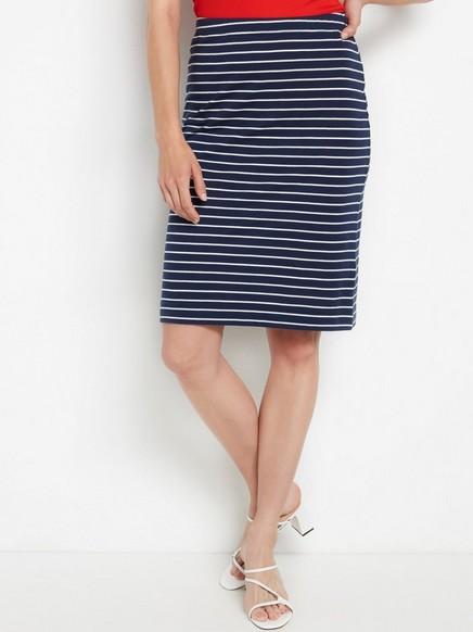 Stripete, marineblått skjørt Blå