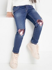 Slim fit jeggings with sequin hearts Blue