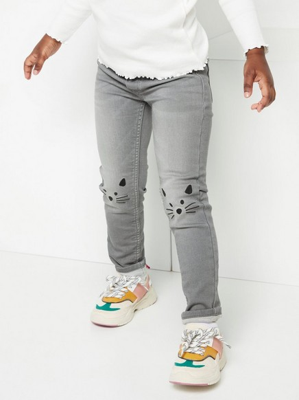 Grey pull on-jeans with slim fit and knee embroidery Black
