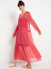Long Chiffon Dress with Tassels  Red