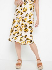 Patterned satin skirt  Yellow