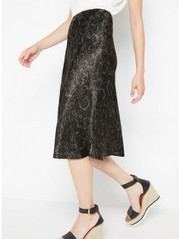 Patterned satin skirt  Khaki