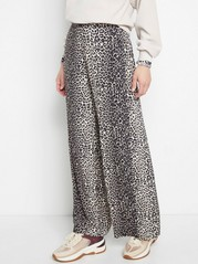 Wide Leo Patterned Trousers  Black
