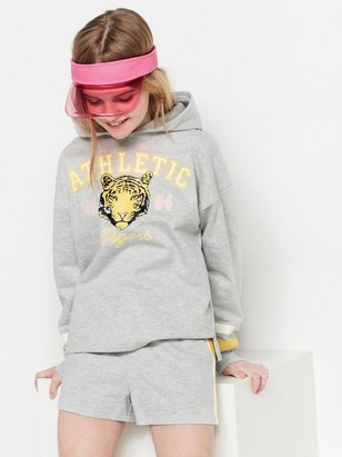Hooded Sweater with Tiger Print Grey