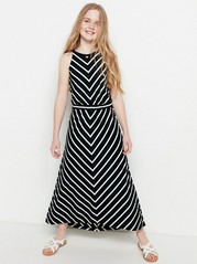 Patterned Maxi Jersey Dress Black