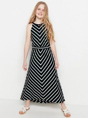 Dlouhé žerzejové šaty se vzorem Černá