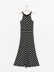 Patterned Maxi Jersey Dress Black