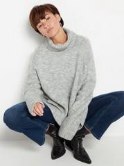 Strikket genser med sidesplitt og rullekrage Grå