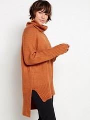 Strikket genser med sidesplitt og rullekrage Oransje