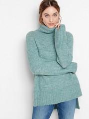 Strikket genser med sidesplitt og rullekrage Blå