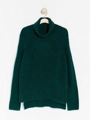 Strikket genser med sidesplitt og rullekrage Grønn