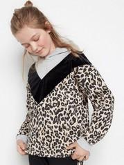 Huvtröja med leopardmönster och sammet Svart
