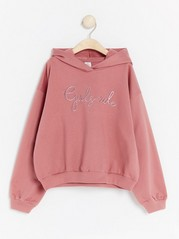 Hooded sweatshirt with front decoration Pink