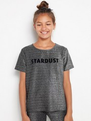 Short sleeve glitter top  Metal