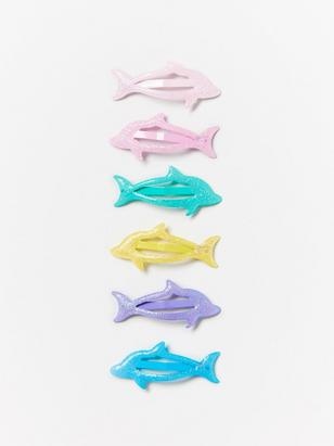 6-pack Hair Clips with Dolphins Turquoise