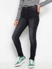 Black slim fit high waist jeans with rhinestones Black