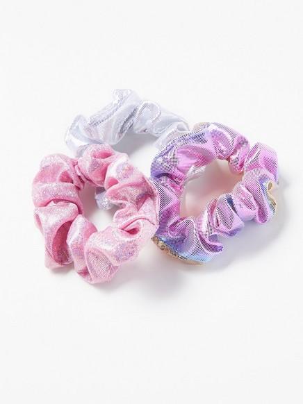 3-pakning med skinnende scrunchies Rosa