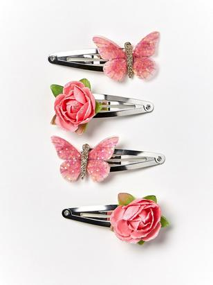 4-pack Hair Clips with Flowers and Butterflies Pink