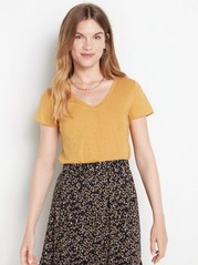 V-neck cotton top  Yellow