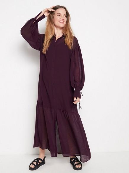 Dlouhé fialové šaty Fialová
