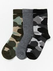 Sada 3párů ponožek smaskáčovým vzorem Šedivá