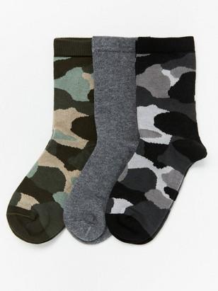3-pakning sokker med kamuflasjemønster Grå