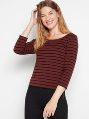 Striped jersey top  Brown