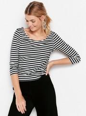Striped jersey top  Black