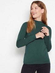 Long sleeve mock neck top in lyocell blend Green